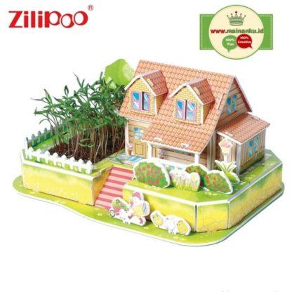 3D Puzzle տնակ իր այգիով